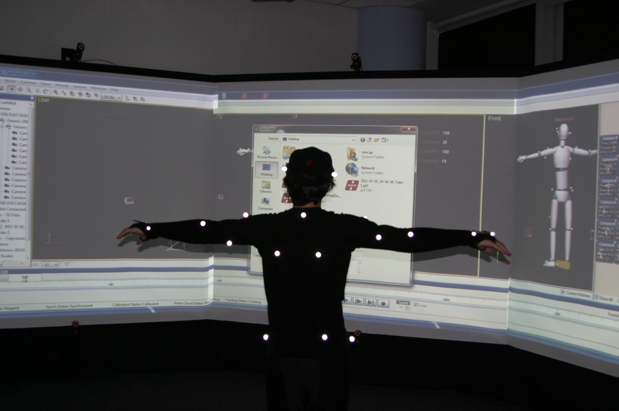Motion capture system in the Computer Graphics and Virtual Reality Research Laboratory